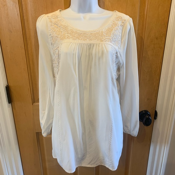Joie Silk Blouse Tunic Ivory Embroidered L/S Sz M